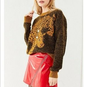 Urban Outfitters Leopard Crew Neck Sweater